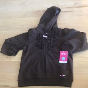 New Carters Size 5 brown zip hooded jacket